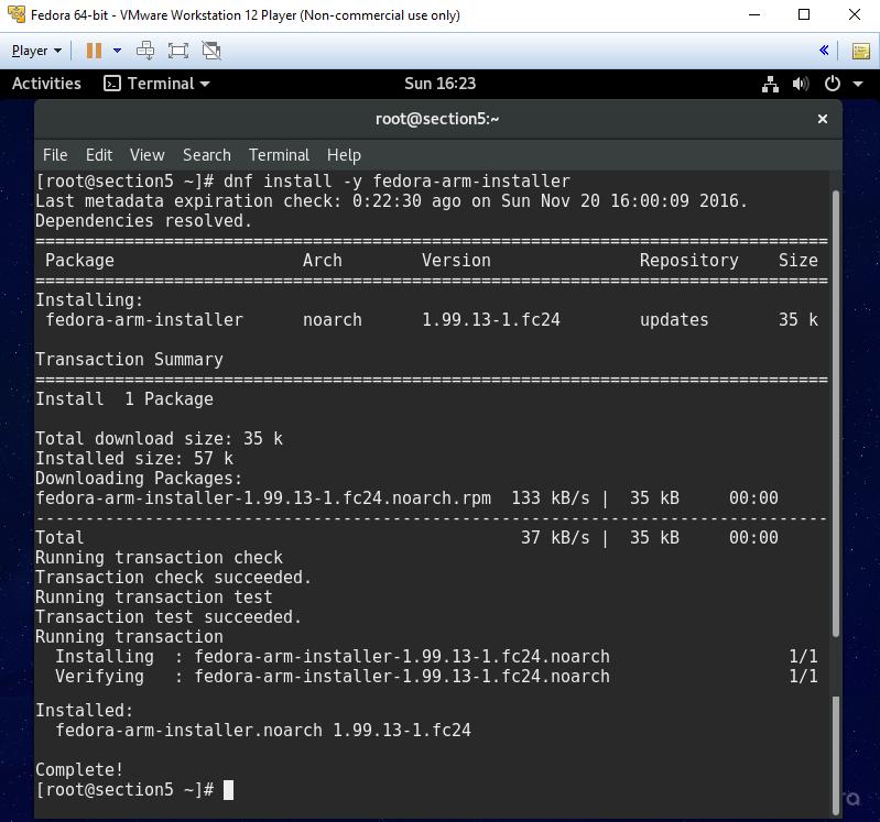 Fedora 24 - Install fedora-arm-installer