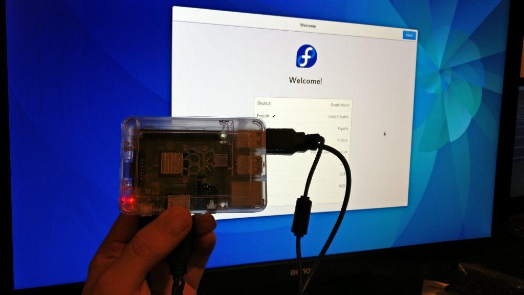 Raspberry Pi 3 Running Fedora 25b