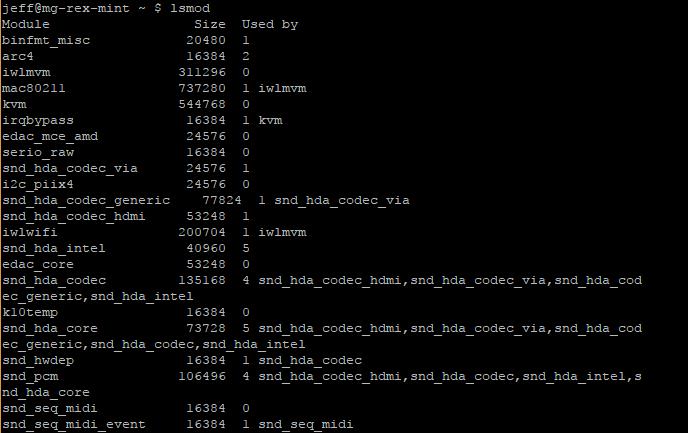 Linux Mint lsmod